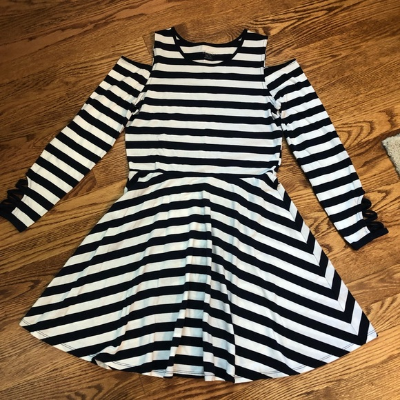 Girls navy/white striped knit dress